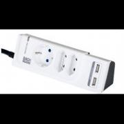 Prelungitor DUO POWER 5xSchuko 2xEuro PC I 1xPST 2xUSB Charger, cordon 2m H05VV-F 3G1(protectie supratensiune)
